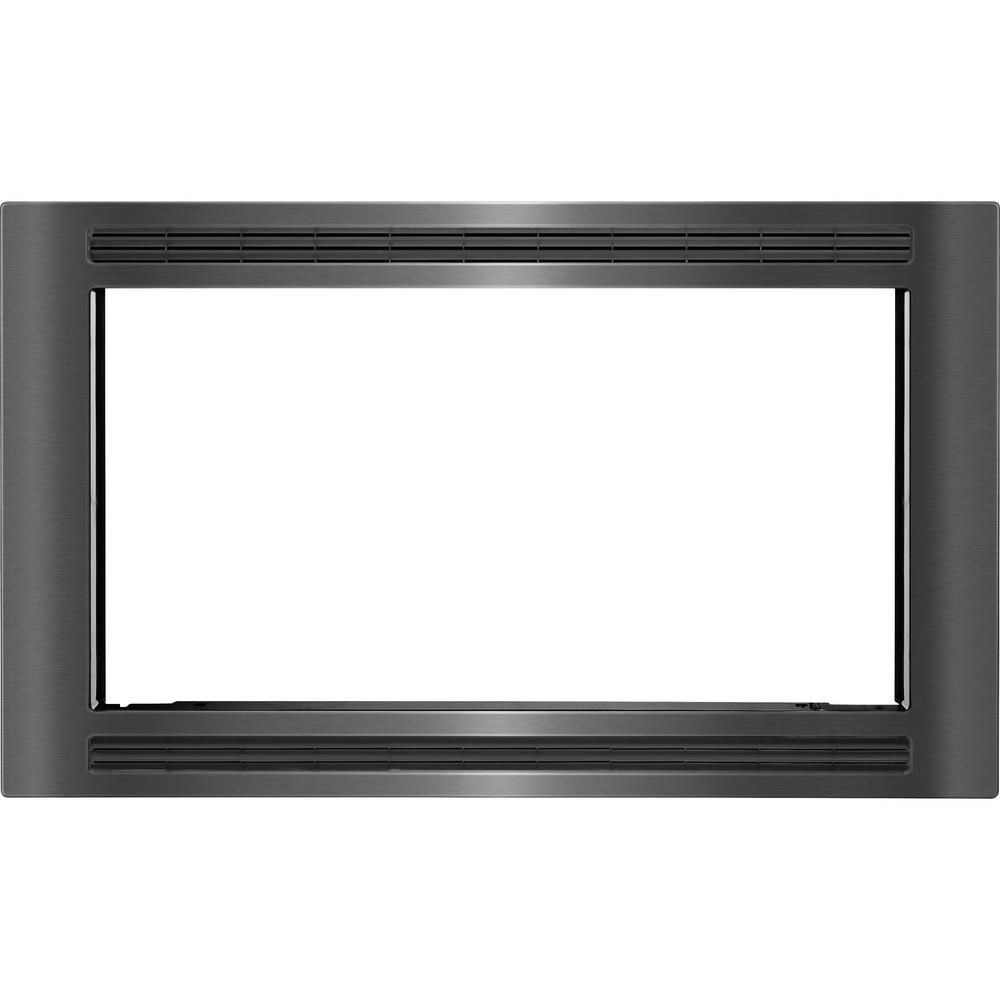 30 in. Trim Kit for Built-In Microwave Oven in Black Stainless