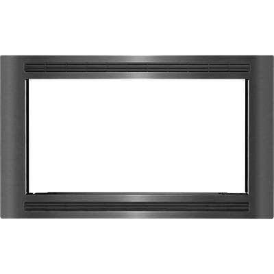 30 in. Trim Kit for Built-In Microwave Oven in Black Stainless Steel