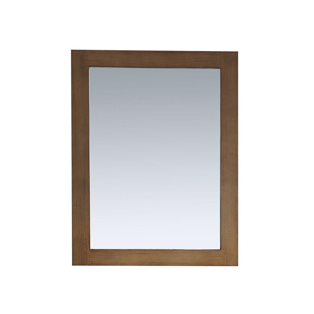 Daniel 22 in. x 30 in. Framed Wall Mirror in Nutmeg