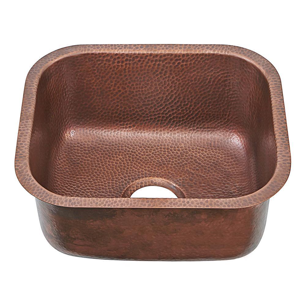 SINKOLOGY Sisley Pro Undermount Copper 19 in. Single Bowl Prep Sink in Hammered Antique Copper