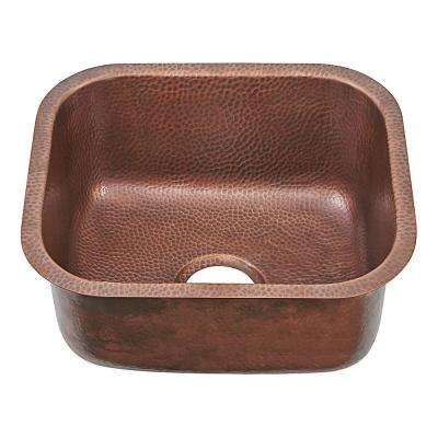 Sisley Pro Undermount Copper Prep Sink 19 in. Single Bowl Prep Sink in Hammered Antique Copper