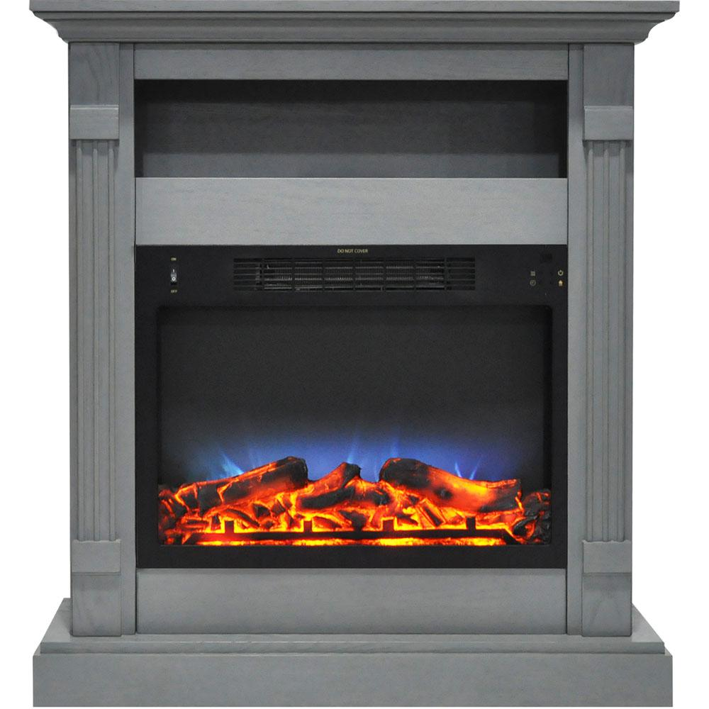 Sienna 34 in. Electric Fireplace with Multi-Color LED Insert and Gray