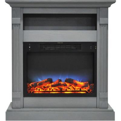 Sienna 34 in. Electric Fireplace with Multi-Color LED Insert and Gray Mantel