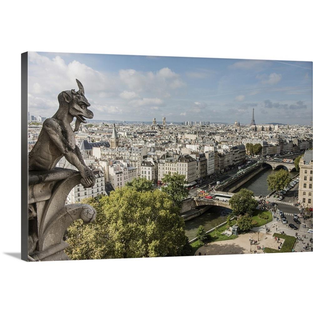 GreatBigCanvas ''Gargoyle Over Paris'' by Circle Capture Canvas Wall Art