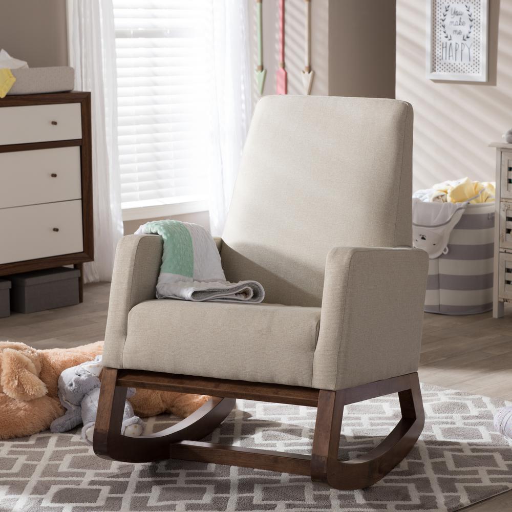 Baxton Studio Yashiya Mid Century Beige Fabric Upholstered Rocking Chair
