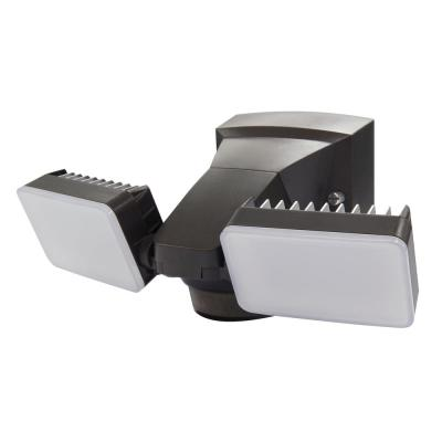 180-Degree Bronze Motion Activated Outdoor Integrated LED Twin Flood Lights with 1600 Lumens