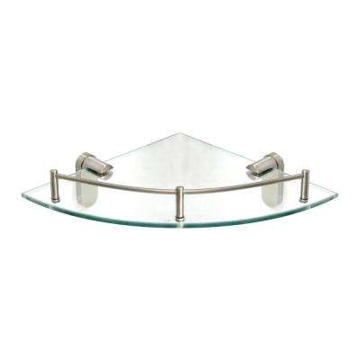 Oval 10.5 in. x 10.5 in. Glass Corner Shelf with Pre-Installed Rail in Satin Nickel