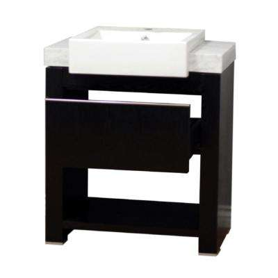 Kinley 24 in. W x 20 in. D x 36 in. H Single Vanity in Black Oak with Marble Vanity Top in White with White Basin