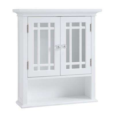 Albion 22 in. W x 24 in. H x 7 in. D Bathroom Storage Wall Cabinet with 2 Glass Doors in White