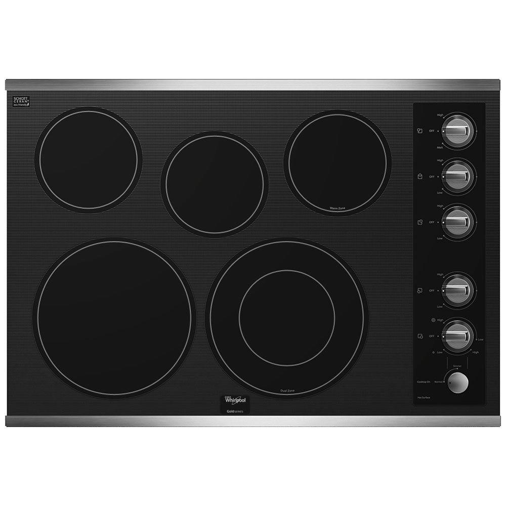 Whirlpool Gold 30 in. Radiant Electric Cooktop in Stainless Steel with 5 Elements Including AccuSimmer Element