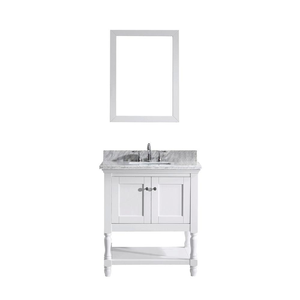 Virtu USA Julianna 32 In. W X 36 In. H Vanity With Marble Vanity Top In  Carrara White With White Square Basin And Mirror MS 3132 WMSQ WH   The Home  Depot