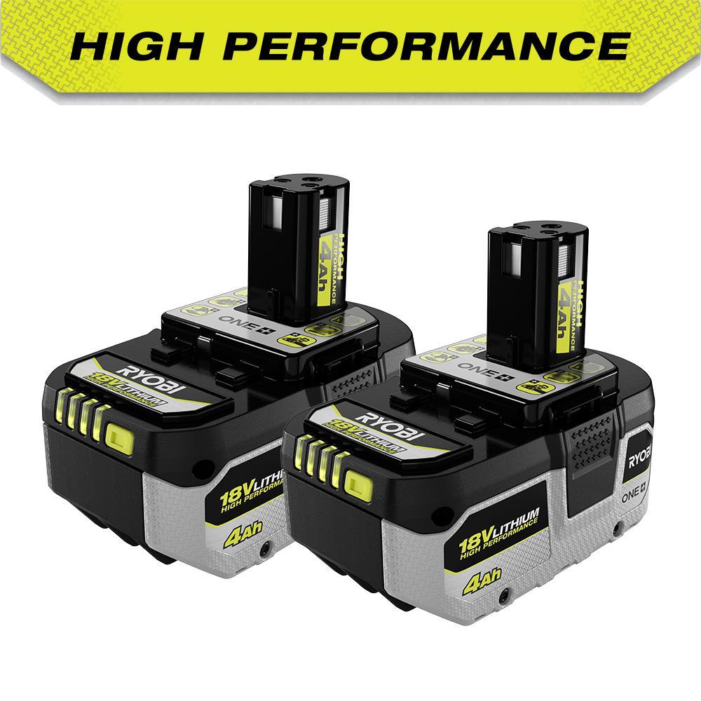 2-Pack Ryobi ONE+ 18V High Performance Lithium-Ion 4.0 Ah Battery