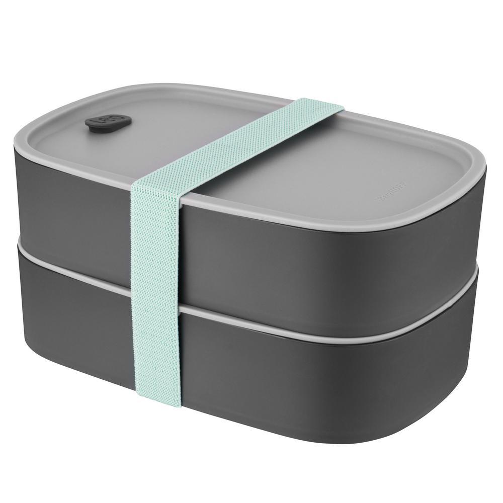 Leo Grey and Mint 3-Piece Dual Bento Box Set