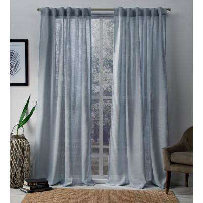 Bella 54 in. W x 96 in. L Sheer Hidden Tab Top Curtain Panel in Melrose Blue (2 Panels)