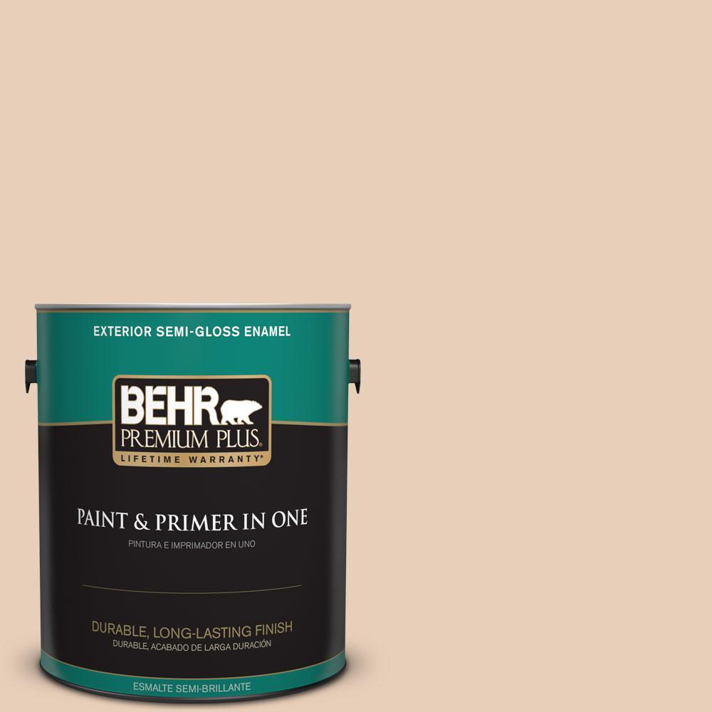 BEHR Premium Plus 1-gal. #S230-1 Buff Tone Semi-Gloss Enamel Exterior Paint