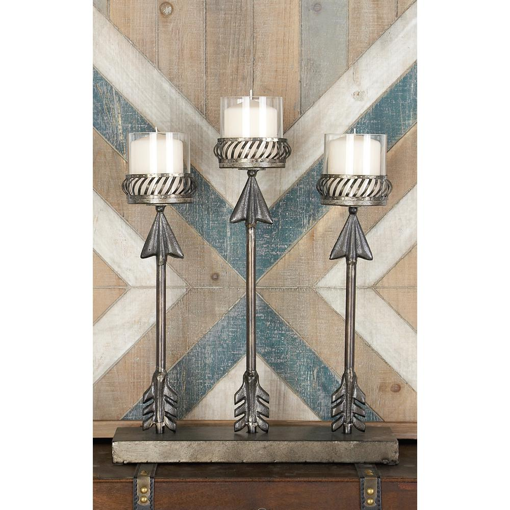 20 in. Gray Iron and Clear Glass Vertical Arrows 3-Pedestal Candle