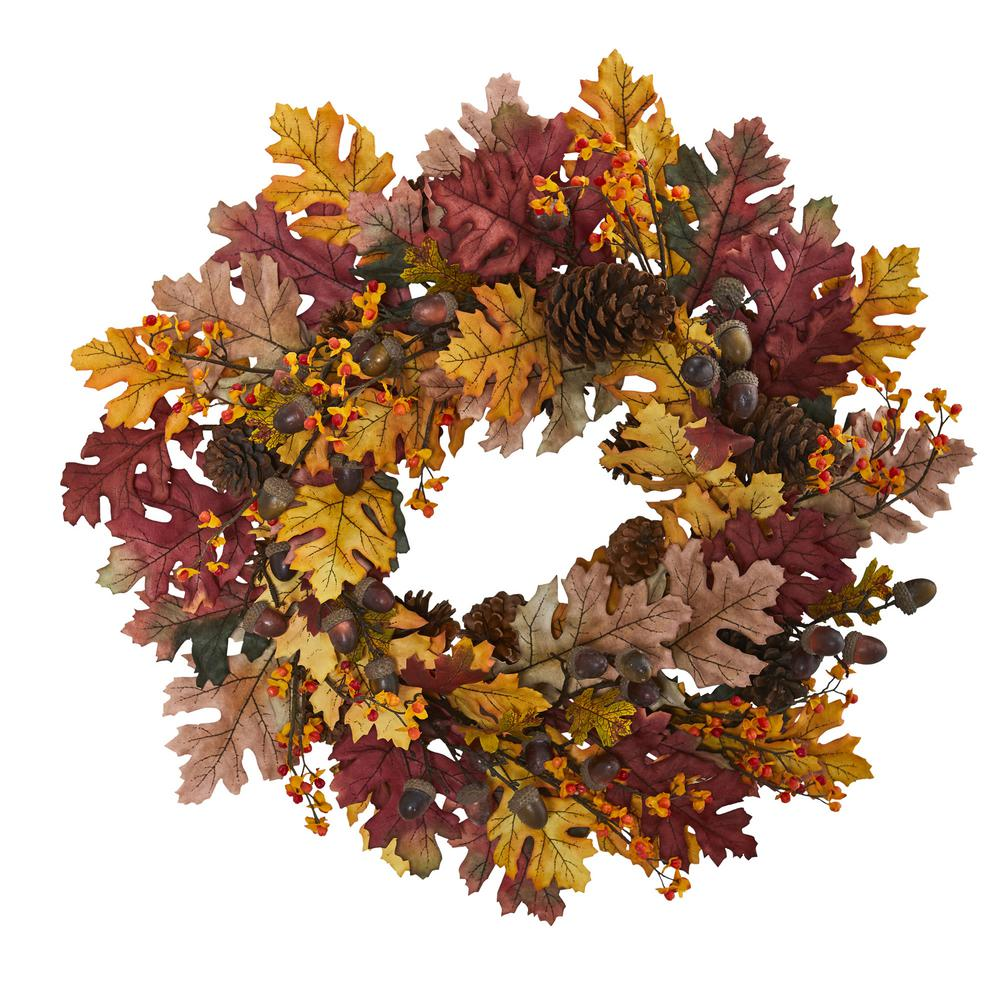 nearly natural 24 in oak leaf acorn and pine wreath 4598 the
