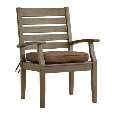 Verdon Gorge Gray Oiled Wood Outdoor Dining Arm Chair with Brown Cushion (2-Pack)