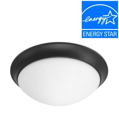Satin Bronze LED Flush Mount with Frosted White Glass