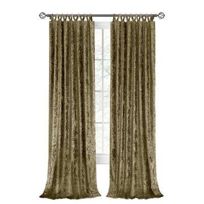 Harper 50 in. W x 63 in. L Criss Cross Tab Top Curtain Panel in Moss