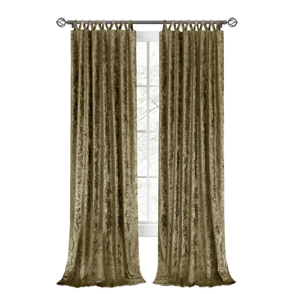 Harper 50 in. W x 63 in. L Criss Cross Tab Top Curtain Panel in Moss
