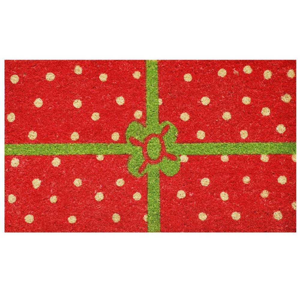 Christmas Package 29 in. x 17 in. Coir and Vinyl Door Mat