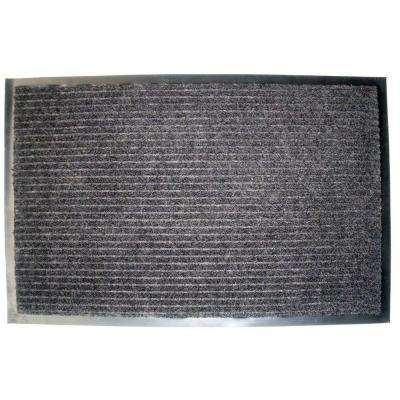 Charcoal Ribbed 24 in. x 36 in. Utility Mat