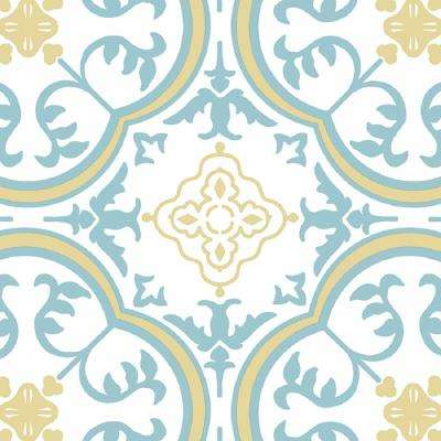 Soho Blue and Beige 13.2 ft. Wide x Your Choice Length Residential Vinyl Sheet Flooring