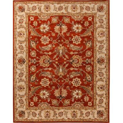 Dahlia Hand-Tufted Red/Gold 12 ft. x 15 ft. Floral Area Rug