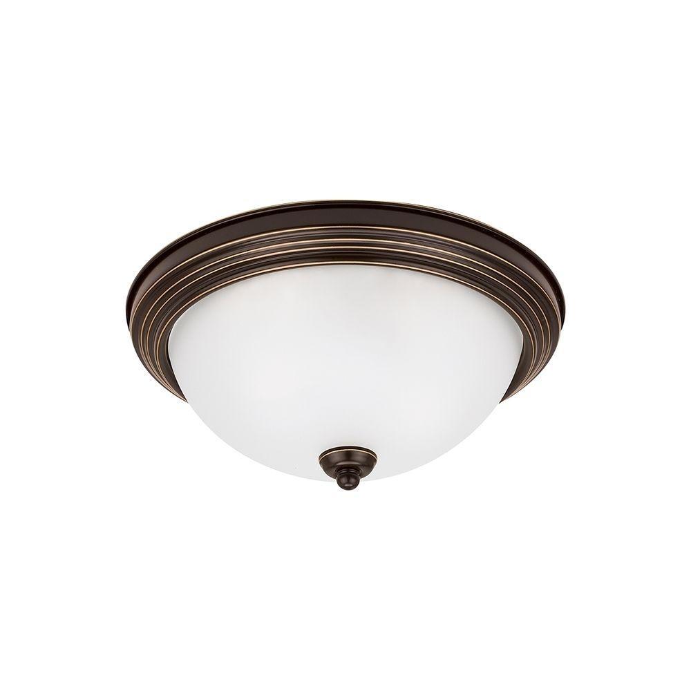 Ceiling Flush Mount 1-Light Heirloom Bronze Flushmount with LED Bulb