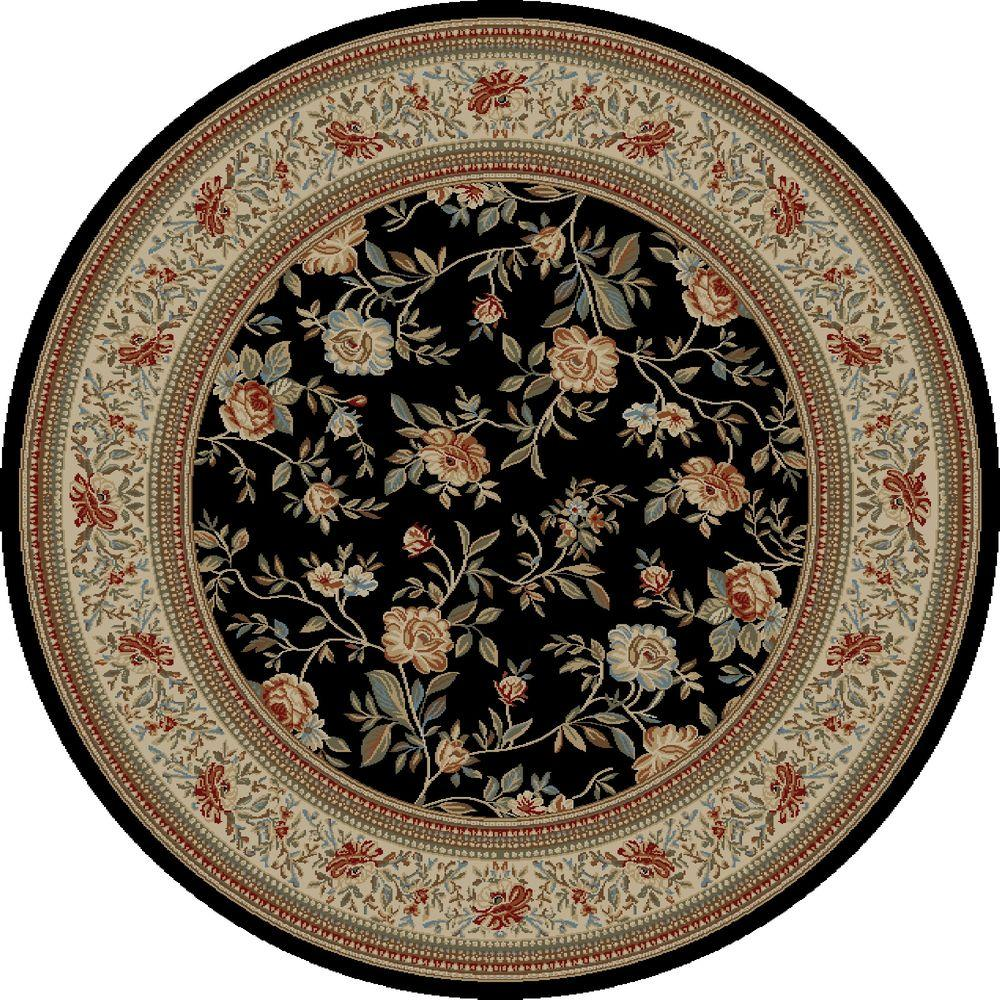 Concord Global Trading Ankara Floral Garden Black 5 ft. 3 in. Round Area Rug