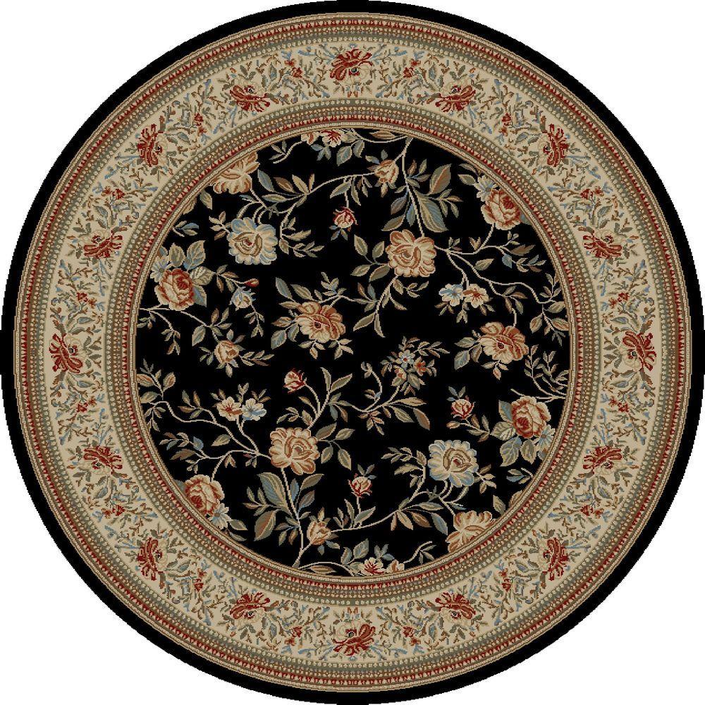 Ankara Floral Garden Black 7 ft. 10 in. Round Area Rug