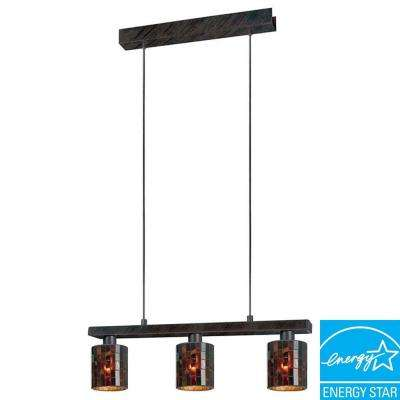 Troya 3-Light Antique Brown Hanging Island Light with Mosaic Glass Shade