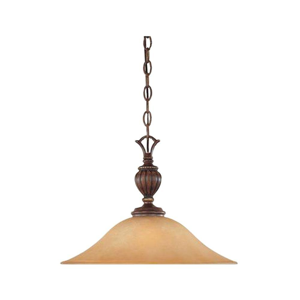 Designers Fountain Le Mans Collection 1-Light Burnished Walnut with Gold Accents Hanging Pendant