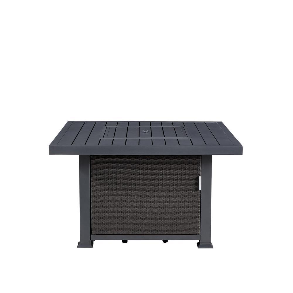 Vendome 42 in. x 24 in. Square Aluminum Propane Fire Pit in Grey