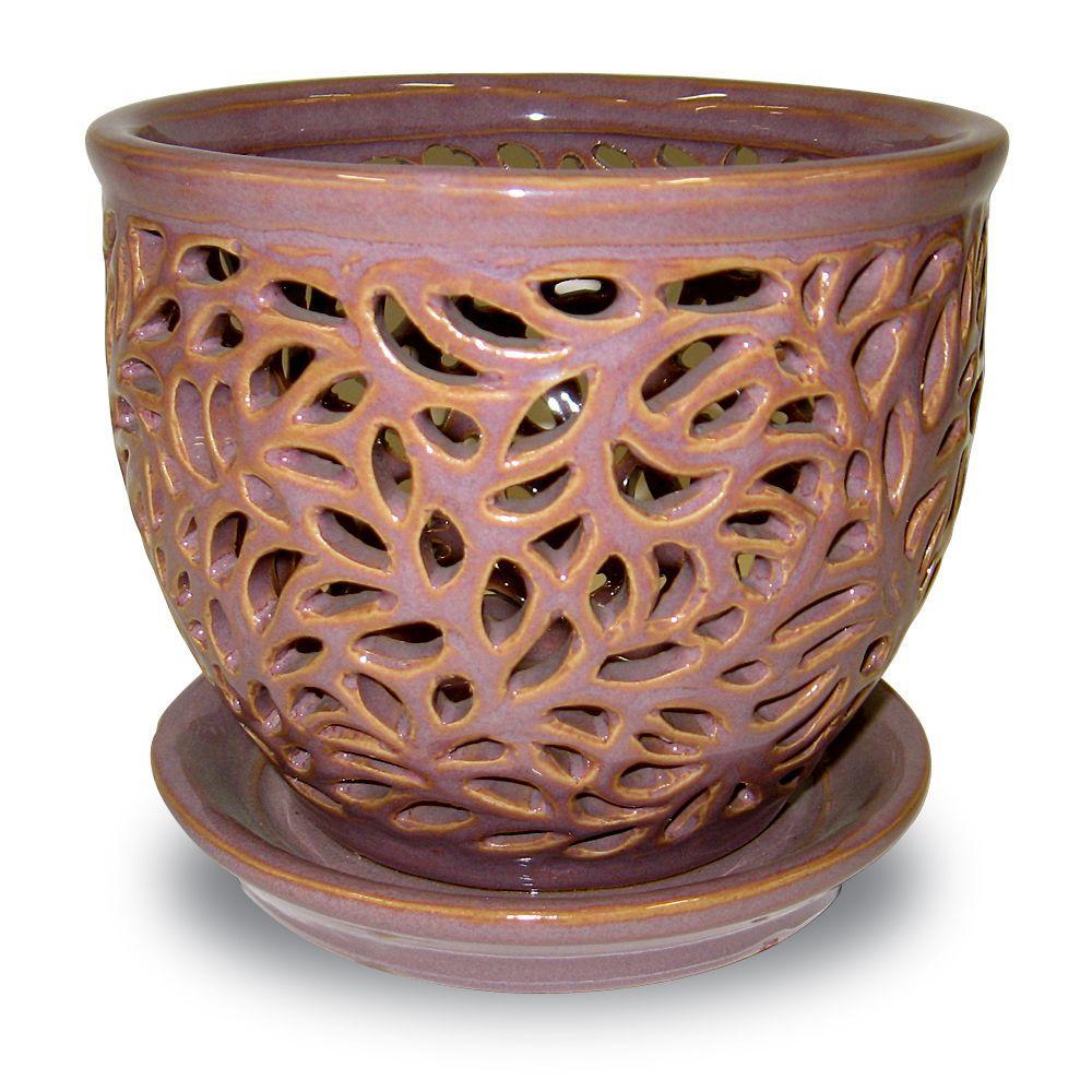 Pennington 5.5 in. Ceramic Twilight Lacey Orchid Planter ...