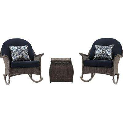 San Marino 3-Piece All-Weather Wicker Patio Rocking Chat Set with Navy Blue Cushions