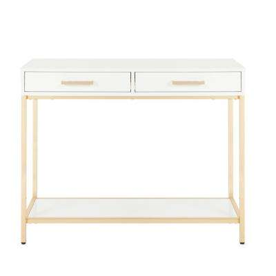 Alios White/Gold Chrome Foyer Table