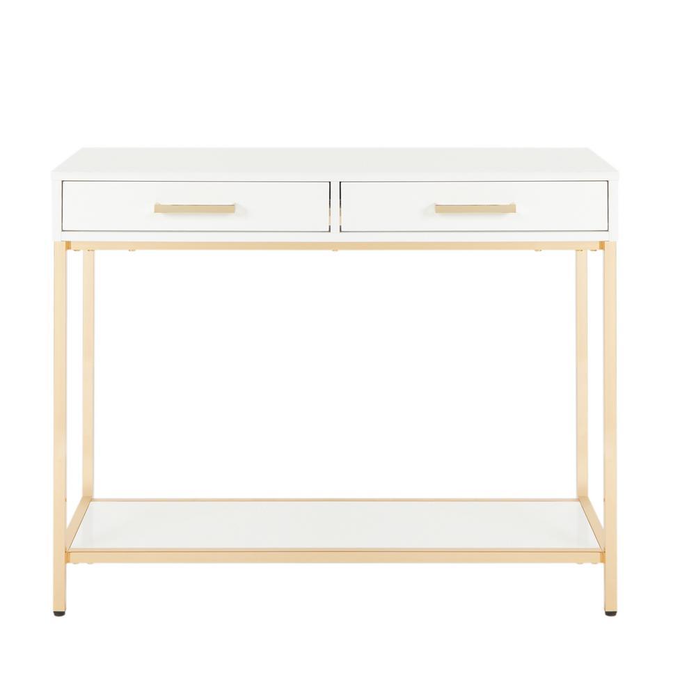 Alios White/Gold Chrome Foyer Table