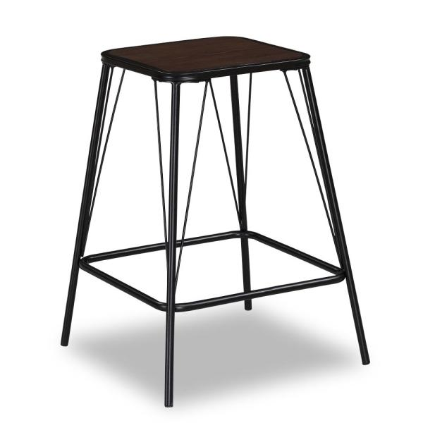 American Woodcrafters Devlen 24 in. Black Backless Counter Stool B1-106-24W