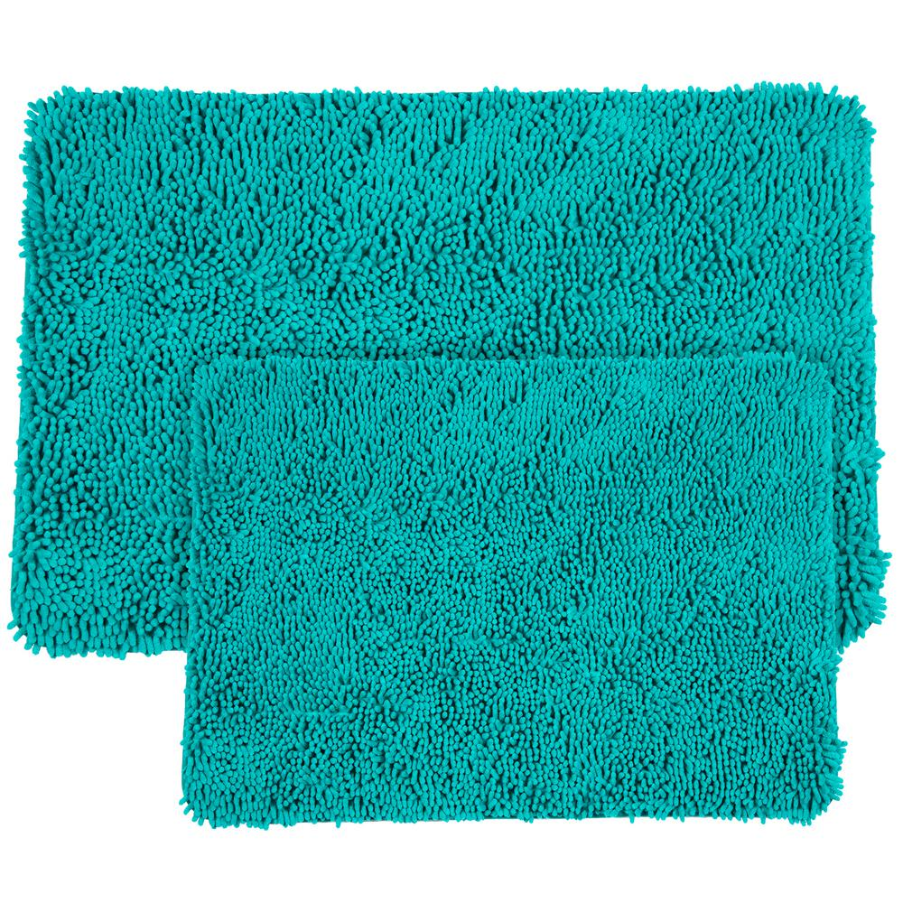 Shag Turquoise Bath Mat Set 2-Pc. Memory Foam Plush