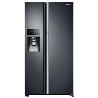 21.5 cu. ft. Side by Side Refrigerator in Black Stainless Steel, Counter Depth Food Showcase Design