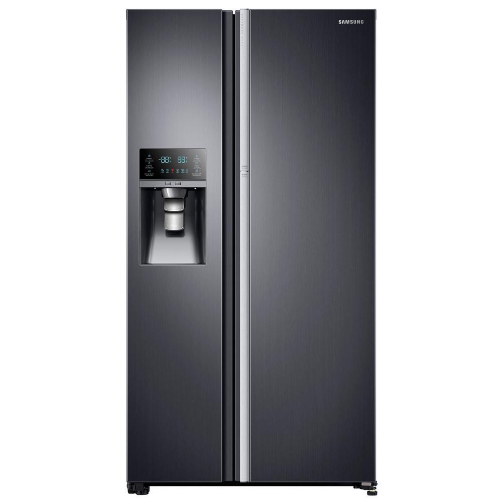 Samsung 21.5 cu. ft. Side by Side Refrigerator in Fingerprint Resistant Black Stainless, Counter Depth Food Showcase Design