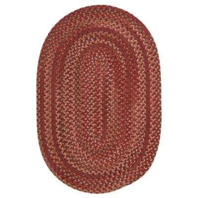 Newport Harbor Persimmon 8 ft. x 10 ft. Braided Oval Area Rug