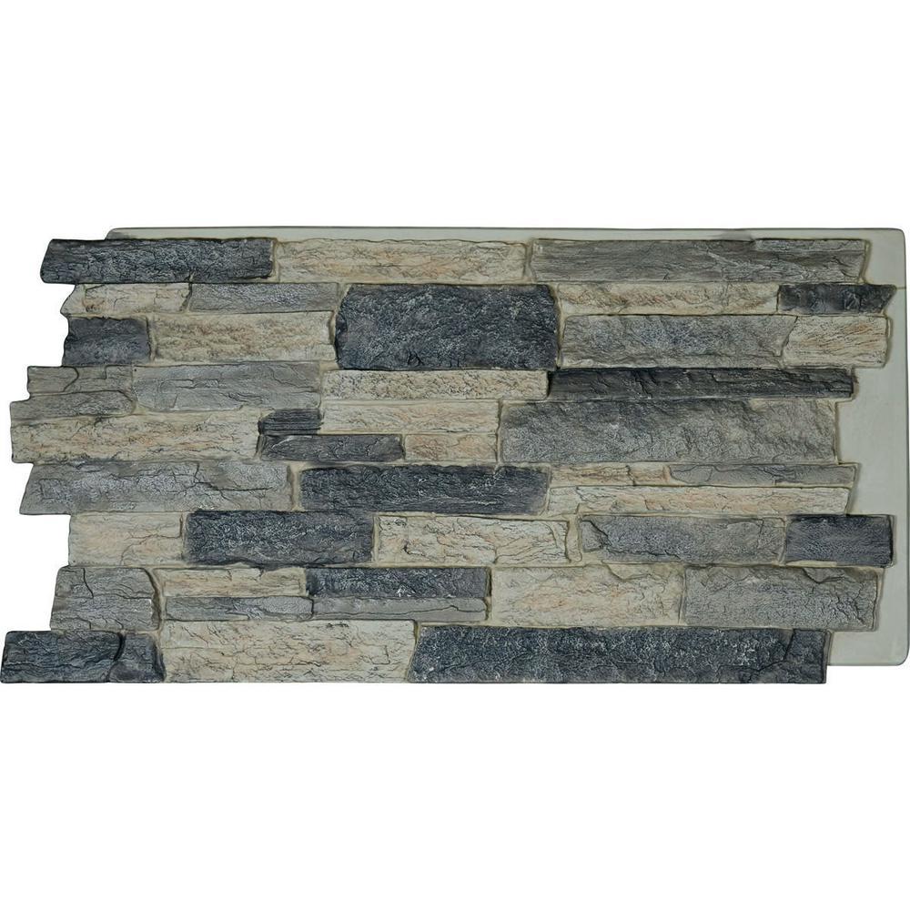 Ekena Millwork 48 in. x 24 in. Acadia Ledge Stacked Stone, StoneWall Faux Stone Siding Panel