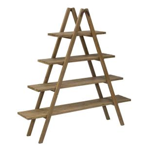 Natural Brown Washed Wood A-Frame Etagere Open Bookcase by