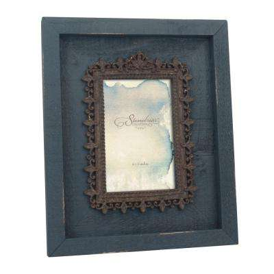 1-Opening 4 in. x 6 in. Navy Weathered Wood With Metal Filigree Picture Frame