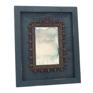 Stonebriar Collection 1-Opening 4 inch x 6 inch Navy Weathered Wood With Metal Filigree... by Stonebriar Collection