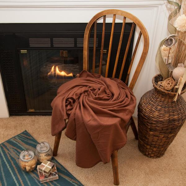 50 in. x 60 in. Brown Super Soft Fleece Throw Blanket