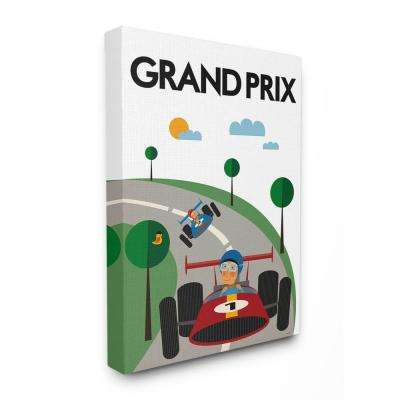"24 in. x 30 in. ""Green Orange Blue and Red Grand Prix Minimal Mod Race Cars"" by Tomas Design Canvas Wall Art"